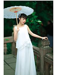 Chemisier Robes Costumes Femme,Couleur Pleine Décontracté / Quotidien simple Sans Manches Col Arrondi