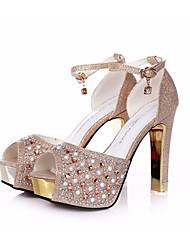 Damen-High Heels-Lässig-PU-Stöckelabsatz-Club-Schuhe-Titan Champagner
