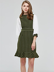 Women's Going out Work Party Vintage Street chic Sophisticated Trumpet/Mermaid Dress,Striped Ruffle Round NeckKnee-length Above