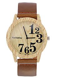 Hombre Reloj de Pulsera Reloj creativo único Reloj Casual Reloj Madera Chino Cuarzo / de madera Piel Banda Cool Casual Negro Marrón Caqui