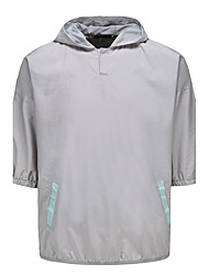 Men's Going out Casual/Daily Simple Active Summer Shirt,Color Block Hooded ½ Length Sleeve Cotton Rayon Thin