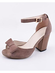 Для женщин Обувь на каблуках Удобная обувь Весна Замша Наппа Leather Свиная кожа Повседневные Черный Миндальный Цвет экрана На плоской