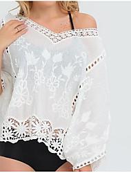 Damen Solide Einfach Lässig/Alltäglich T-shirt,V-Ausschnitt Kurzarm Kunstseide