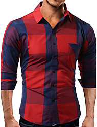 Men's Casual/Daily Work Simple Spring Fall Shirt,Plaid Shirt Collar Long Sleeves Cotton Opaque
