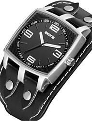 SKONE Men's Sport Watch Quartz Water Resistant / Water Proof PU Band Black Brown Brown Coffee Black