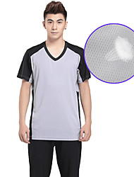 OUTTO® Men's Short Sleeve Soccer Tops Breathable Gray Exercise & Fitness XL XXL XXXL