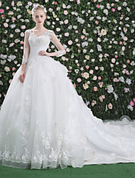 Princess Wedding Dress - Chic & Modern Beautiful Back Royal Length Train V-neck Lace Tulle withPattern Ruffle Sequin Appliques Beading