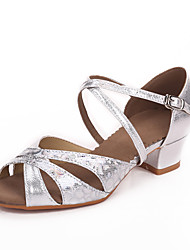 Kids' Latin Leatherette Sandals Professional Buckle Chunky Heel Gold Silver Ruby Blue Non Customizable