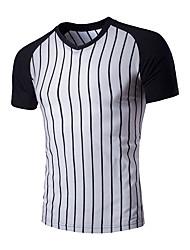 Herren Solide Gestreift Retro Einfach Lässig/Alltäglich T-shirt,Peter Pan-Kragen Sommer Kurzarm Baumwolle Mittel