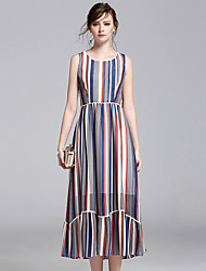 8CFAMILY Women's Going out Casual/Daily Holiday Boho Cute Street chic A Line Chiffon Swing DressStriped Round Neck Maxi Sleeveless Polyester