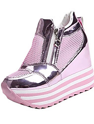 Clogs & Mules Spring Summer Fall Comfort Novelty PU Outdoor Casual Wedge Heel Sparkling Glitter Chain Plaid Walking