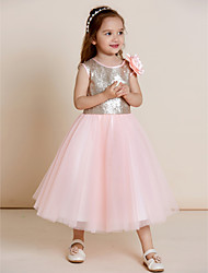 A-line Tea-length Flower Girl Dress - Tulle Sequined Jewel with Draping Flower(s) Sequins