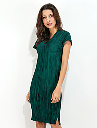 Women's Casual/Daily Work Simple Sheath Dress,Solid V Neck Knee-length Short Sleeve Polyester All Seasons Low Rise Micro-elastic Medium