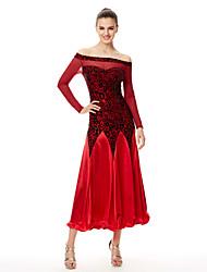 Robes(Noire / Rouge,Velours,Danse de Salon)Danse de Salon- pourFemme Plissé Spectacle Danse de Salon Taille haute