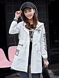 Women's Going out Simple Spring Trench Coat,Solid Hooded Long Sleeve Long Others