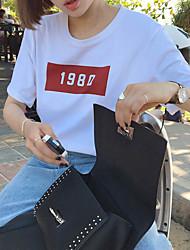 Damen Solide Niedlich T-shirt,Rundhalsausschnitt Frühling Kurzarm Modal Mittel