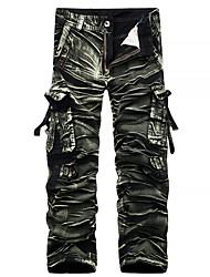 Masculino Simples Moda de Rua Activo Cintura Média Inelástico Chinos Calças,Reto Camuflagem