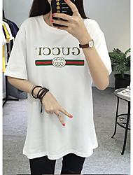 Tee-shirt Femme,Lettre Plage simple Manches Courtes Col Arrondi Coton