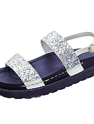 Women's Sandals Summer Comfort PU Outdoor Low Heel Buckle Silver Black Walking
