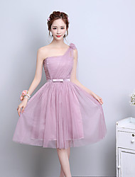 Short / Mini One Shoulder Bridesmaid Dress - Elegant Sleeveless Satin Tulle