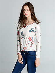 Damen Blumen Retro / Street Schick Ausgehen / Lässig/Alltäglich T-shirt,V-Ausschnitt Frühling / Herbst Langarm Weiß Polyester Mittel