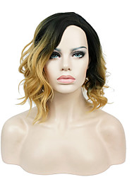Short Natural Wavy Shaggy Black/Golden Ombre Bob Side Part 2 Tone Full Synthetic Wigs