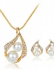 Set de Bijoux Perle imitée Strass Mode euroaméricains Alliage Larme 1 Collier 1 Paire de Boucles d'Oreille Pour Mariage Soirée 1 Set