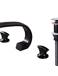 Contemporary Widespread Clawfoot with  Brass Valve Two Handles Three Holes for  Oil-rubbed Bronze , Bathroom Sink Faucet