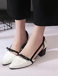 Women's Heels Spring Fall Club Running-on Shoes OL Style Color Block Comfort Office & Career Dress Chunky Heel Bowknot Blushing