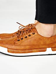 Черный / Коричневый / Желтый / Серый-Мужской-На каждый день-Кожа-На плоской подошве-Удобная обувь / С круглым носком / С закрытым носком-