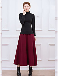 Women's Going out Casual/Daily Holiday Maxi Skirts,Vintage A Line Solid Winter