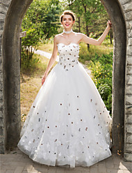 Ball Gown Wedding Dress - Classic & Timeless Lacy Look Floor-length Sweetheart Lace Tulle with Appliques Flower Lace