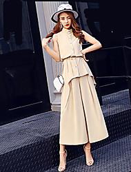 Feminino Camisa Calça Conjuntos Casual Trabalho Simples Moda de RuaCor Única Colarinho Chinês