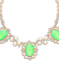 Women's Strands Necklaces Jewelry Jewelry Gem Alloy Euramerican Fashion Personalized Light Green Blushing Pink Rainbow Yellow White