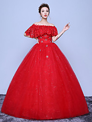 A-line Wedding Dress Floor-length Off-the-shoulder Cotton Lace Tulle with Appliques Lace Pattern Sequin