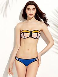 Women's Bandeau Tankinis,Color Block Wireless / Padless Bra Polyester Pink / Yellow / Orange