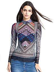 Damen Druck Einfach Lässig/Alltäglich T-shirt,Rollkragen Alle Saisons Langarm Grau Polyester Lichtdurchlässig