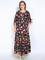 Really Love Women's Plus Size Party Holiday Sexy Vintage Sophisticated Loose Swing Dress,Floral Round Neck Maxi Long Sleeve Cotton PolyesterAll