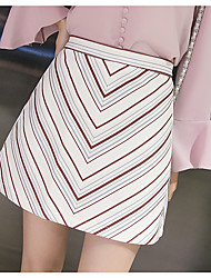 Women's High Rise Above Knee Skirts A Line Striped