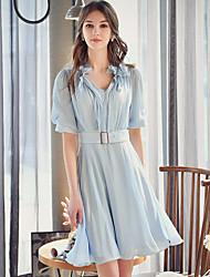 Для женщин На выход На каждый день Праздник Очаровательный Уличный стиль Изысканный Оболочка С летящей юбкой Рубашка Платье Однотонный,