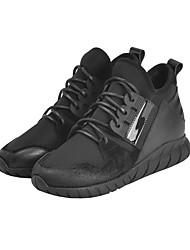 Women's Sneakers Comfort Cowhide Fall Winter Casual Wedge Heel Black 1in-1 3/4in