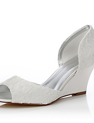 Women's Dyeable Wedding Shoes Spring Summer Comfort Shoes Silk Wedding Outdoor Office & Career Dress Party & Evening Wedge Heel Ivory