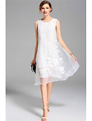 Kadın Dışarı Çıkma Günlük/Sade Vintage Çan Elbise Nakışlı,Kolsuz Yuvarlak Yaka Diz üstü Polyester Bahar Yaz Normal Bel Esnemez Orta