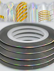 100pcs / box 1mm 20m mode arc-en-ciel étincelant feuille rayant ruban ligne décoration ongle art diy beauté laser argenté paillettes
