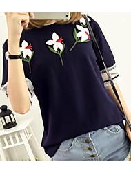 Damen Druck Einfach Lässig/Alltäglich T-shirt,Rundhalsausschnitt Kurzarm Baumwolle Dünn