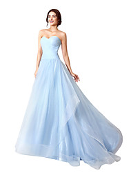 Ball Gown Sweetheart Court Train Tulle Formal Evening Dress with Side Draping