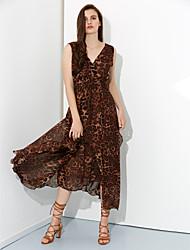 женские v шеи моды случайные печати платья
