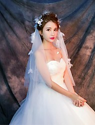 Wedding Veil Two-tier Elbow Veils Fingertip Veils Cut Edge Tulle Ivory