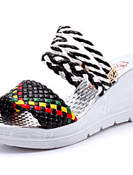 Women's Sandals Club Shoes PU Spring Summer Casual Dress Club Shoes Braided Strap Wedge Heel White Black 3in-3 3/4in