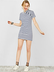Women's Going out Casual/Daily Holiday Sexy Simple Street chic Sheath Dress,Print Boat Neck Asymmetrical ½ Length Sleeve Polyester Summer